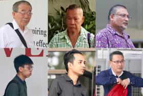 (Clockwise from top left) Lim Ah Bah, Yan Kok Fatt, Haji Mohamed Yusoof, Ng Soon Hee, Muhammad Salihin Omar and Loh Wai Cheong. The seventh man cannot be named to protect the victim.