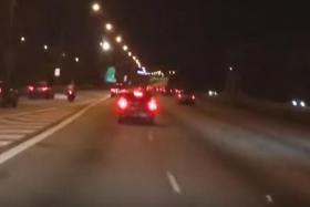 A Facebook user followed the Honda and recorded it getting into countless close calls on the Central Expressway.