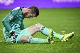 Manchester United goalkeeper David de Gea suffers a muscular injury while playing for Spain.