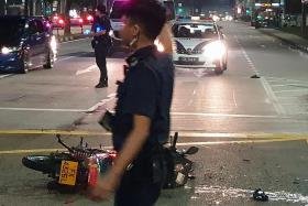 Motorcyclist taken to hospital after accident with Mercedes cab