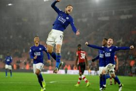 Leicester City's Jamie Vardy celebrates after completing his hat-trick.