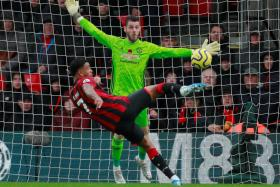 Bournemouth's Joshua King scoring their winner against Manchester United.