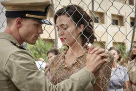 Ed Skrein (left) and Mandy Moore in Midway