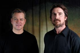 Cast members Christian Bale (right) and Matt Damon pose for a portrait while promoting the film Ford v Ferrari in Los Angeles