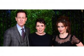 (From left) Tobias Menzies, Olivia Colman and Helena Bonham Carter at the premiere of The Crown Season 3.