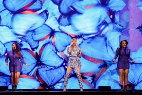 US singer Taylor Swift performs during the 2019 Tmall 11:11 Global Shopping Festival gala in Shanghai on November 10, 2019.
