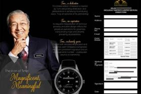 Mahathir 'very angry' about hoax involving luxury watches