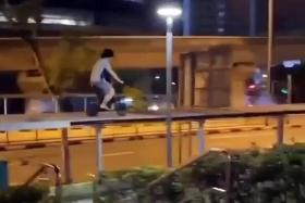 Teen nabbed after riding PMD on walkway roof