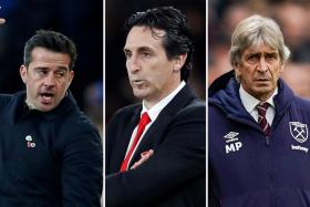 (From left) Everton's Marco Silva, Arsenal's Unai Emery and West Ham United's Manuel Pellegrini are the top three English Premier League managers tipped for the sack, according to bookmakers.