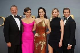 (From left) Actors Hugh Bonneville, Elizabeth McGovern, Michelle Dockery, Laura Carmichael and Allen Leech attend the world premiere of Downton Abbey in London, Britain on September 9, 2019.