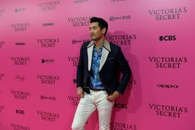 "In this file photo taken on November 20, 2017, Taiwanese-Canadian actor Godfrey Gao poses on the ""Pink Carpet"" ahead of the start of the 2017 Victoria's Secret Fashion Show in Shanghai."