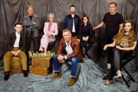 Actors Jaeden Martell, Don Johnson, Jamie Lee Curtis, Daniel Craig, Chris Evans, Ana de Armas, Michael Shannon and Katherine Langford attend the photocall for Knives Out at Four Seasons Hotel Los Angeles at Beverly Hills on November 15, 2019 in Los Angeles, California.