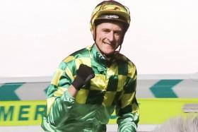 Jockey Blake Shinn, rider of Sonic Fighter in Race 7.