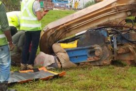 A worker's left leg was trapped after an excavator fell at a Tampines worksite.