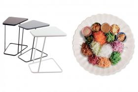 (Left) Smart Living Revello Side Table. (Right) 40cm Scallop Melamine Yu Sheng Plate.