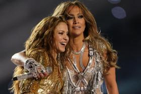 Singers Shakira and Jennifer Lopez perform during the Pepsi Super Bowl LIV Halftime Show at Hard Rock Stadium on February 02, 2020 in Miami, Florida.