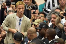 Keisuke Honda arriving to a rapturous reception from Botafogo fans at the Galeao Airport in Rio de Janeiro.