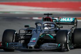 Mercedes driver Lewis Hamilton, who is aiming to equal Michael Schumacher's record seven drivers' titles, in pre-season testing at Barcelona.