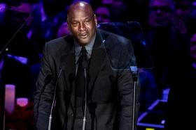 A tearful Michael Jordan during the Kobe Bryant memorial in Los Angeles attended by some 20,000 people.