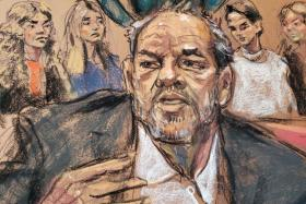 Harvey Weinstein speaks as witnesses watch during the sentencing following his conviction on sexual assault and rape charges in the Manhattan borough of New York City, New York, U.S. March 11, 2020 in this courtroom sketch.