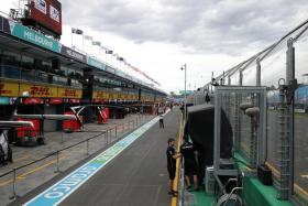 General view of the pitlane after it was announced the Australian Grand Prix would be cancelled after a McLaren team member tested positive for coronavirus.