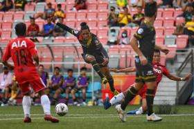 Tampines Rovers' Jordan Webb (second from left) in action in a 1-0 win over Balestier Khalsa earlier this month.
