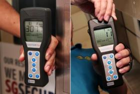 A meter reading for cleanliness before (left) and after the coating, known as sdst, was applied.