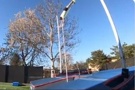 Former pole vault champion stages 'home containment' meet