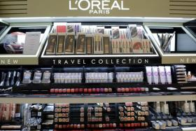 A cosmetic display of L'Oreal is seen at a duty free shop at Nice International Airport, France, October 10, 2018.
