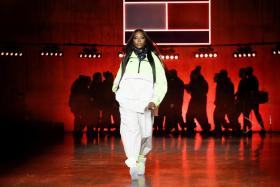 Model Naomi Campbell presents a creation during the Tommy Hilfiger 'TOMMYNOW Spring 2020' show during London Fashion Week in London, Britain, February 16, 2020.