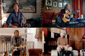 """This handout screengrab, obtained April 19, 2020 courtesy of """"Global Citizen's One World: Together at Home"""" shows The Rolling Stones performing during """"One World: Together At Home"""" presented by Global Citizen on April, 18, 2020."""