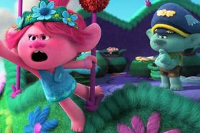 Anna Kendrick (left) and Justin Timberlake in Trolls World Tour
