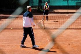 An elderly couple playing tennis at the Smashing Suns club, after the Austrian government last Friday loosened a seven-week lockdown due to the Covid-19 outbreak.