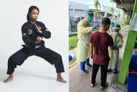 National silat exponent Atiq Syazwani Roslan (left and far right) has been volunteering as a healthcare assistant at Woodlands Lodge 1, a foreign worker dorm.