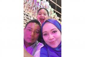 From left, former national goalkeeper Effendy Subtu, his daughter Dania Sumayyah and his wife Ainumira Sarjat.