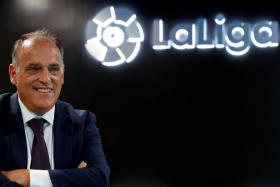 """La Liga president Javier Tebas has said the league's safety measures meant the chance of a player being infected during a game was """"practically zero""""."""
