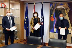 (From left) Spanish football federation president Luis Rubiales, sports minister Irene Lozano and La Liga chief Javier Tebas signing an agreement on a Code of Conduct in Spanish football amid the ongoing Covid-19 pandemic.