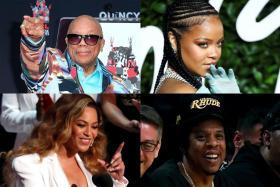 Quincy Jones, Rihanna, Beyonce and Jay-Z.