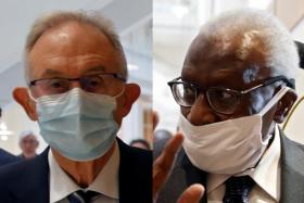 Ex-IAAF anti-doping chief Gabriel Dolle (left) and former IAAF president Lamine Diack.