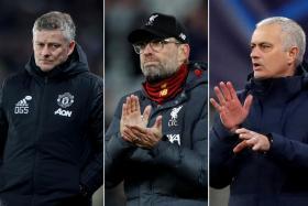 From left, Manchester United manager Ole Gunnar Solskjaer, Liverpool boss Juergen Klopp and Tottenham Hotspur's Jose Mourinho.
