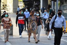 Masked people in Singapore