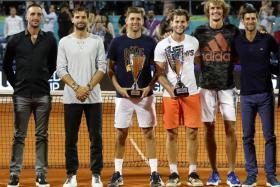 (From left) Viktor Troicki, Grigor Dimitov, Filip Krajinovic, Dominic Thiem, Alexander Zverev and Novak Djokovic at the Belgrade leg of the Adria Tour last week.