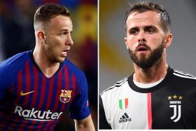 Barca have swopped Arthur Melo (left) with Juventus' Miralem Pjanic, making a profit of 12 million euros (S$18.8m).
