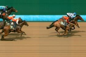 Ararat Lady (on the inside) finds that little extra to hold off and take Trial 3 from the fast-finishing Karisto.