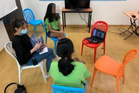 A restorative video conference session with residents of the Singapore Girls' Home.