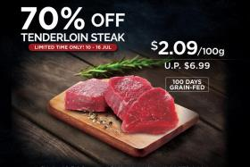 Tenderloin steak is at 70 per cent off at Cold Storage