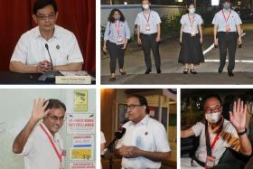 Clockwise from top left: DPM Heng Swee Keat after leading the PAP's East Coast GRC team to victory, the Workers' Party's team that won Sengkang GRC, PAP's Liang Eng Hwa (Bukit Panjang SMC), S.Iswaran (who helmed their West Coast GRC team along with Desmond Lee) and Murali Pillai (Bukit Batok SMC).