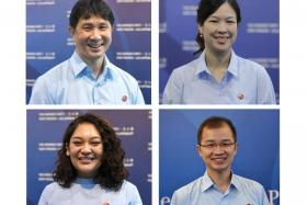 The Workers' Party team for Sengkang GRC (clockwise from top left) Jamus Lim, He Ting Ru, Louis Chua and Raeesah Khan.