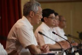 Prime Minister Lee Hsien Loong holding a press conference after the announcement of polling results on July 11, 2020.