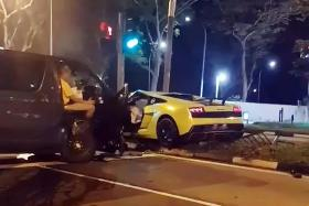 Two taken to hospital after accident involving Lamborghini and van
